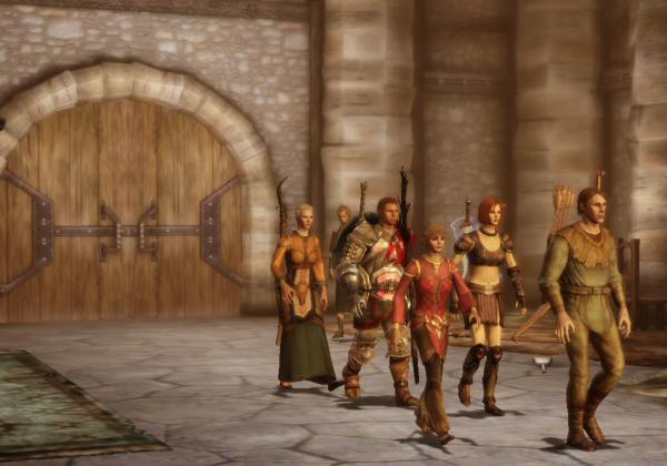 Sometimes the characters use this really aggressive walk / swagger during cutscenes.  I recognize it from Mass Effect. It's funny seeing little old lady Wynne (left) use that stride.