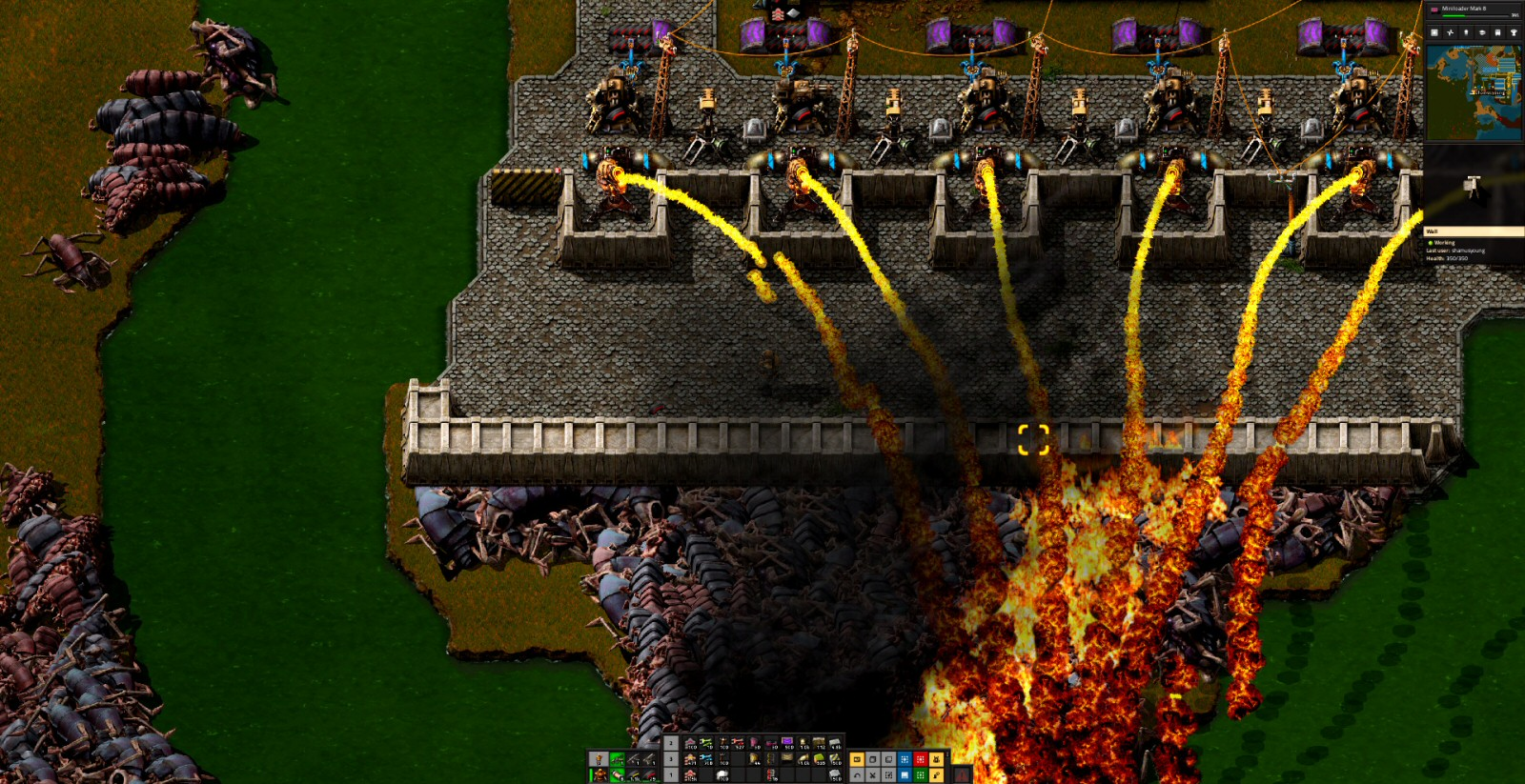These defenses seem pretty tight, but occasionally you'll get a larger attack that punches through. If you're not there to deal with it, then the biters will pour through and break everything. At that point you'll need to restore to some twenty-minute old save. Either that, or babysit everything all the time. Either way, it's not super-interesting.