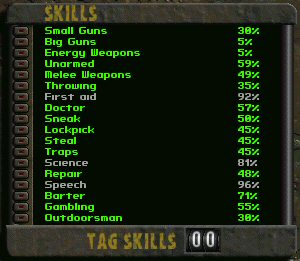 The list of in-game skills.
