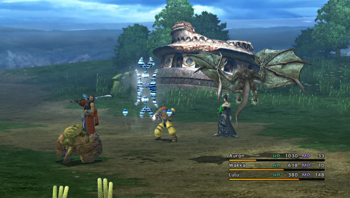 The hard-shell foe on the left is for heavy-hitter Auron. The blue thing in the middle in an elemental for Lulu our Black Mage. The floating bat-thing on the right is for Wakka, who throws beach balls at flying creatures. Using the wrong character means you do little / no damage, and a bit of dialog to help the player to understand the intended match-ups.