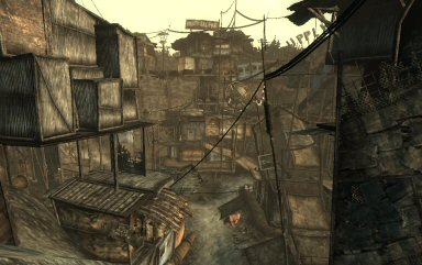 "The town of Megaton, which is built inside of a steep crater. An undetonated <a href=""http://en.wikipedia.org/wiki/Fat_Man"">Fat Man</a> sits at the very bottom, and nobody knows what to do with it."