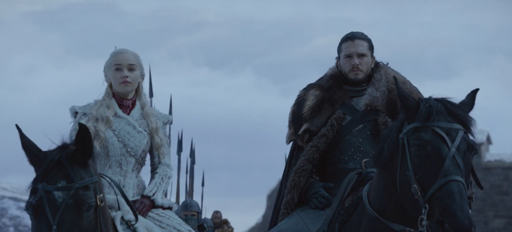 The power couple. Inexplicably, the northerners continue to be hostile to Dany even after seeing her outfit. Would you call that vermillion, or is it not dark enough?