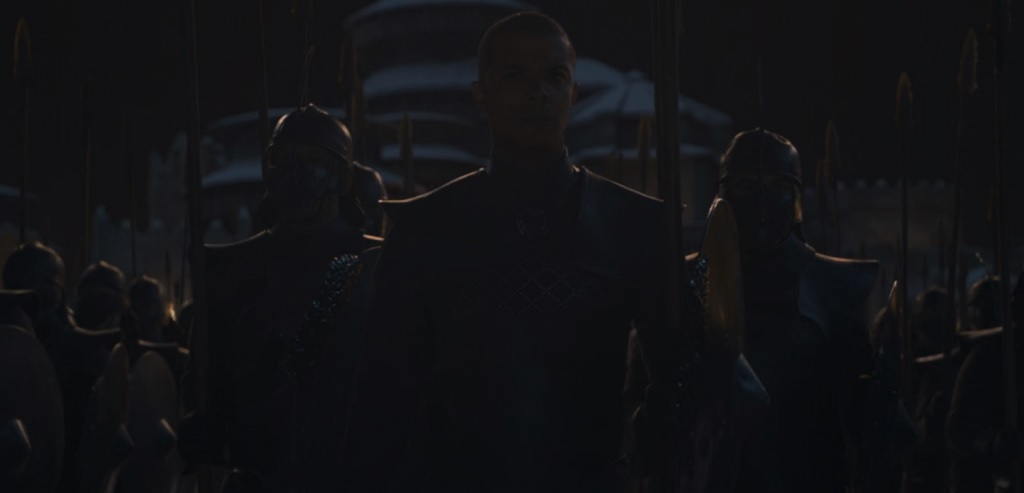 Against all odds, and despite highly conspicuous 'two days until retirement'-type dialogue last episode, Grey Worm actually survives. I have concluded that this man is invincible.