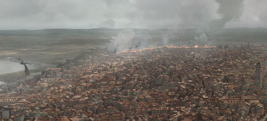 The episode uses this shot several times as more and more of the city goes up in flames. It takes a long time. Pretty much the entire last half hour of the episode is either Dany burning King's Landing or people running away from Dany burning King's Landing.