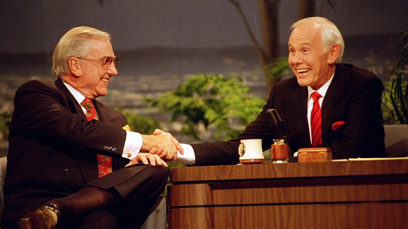 Right: Johnny Carson. Left: Co-host Ed McMahon.