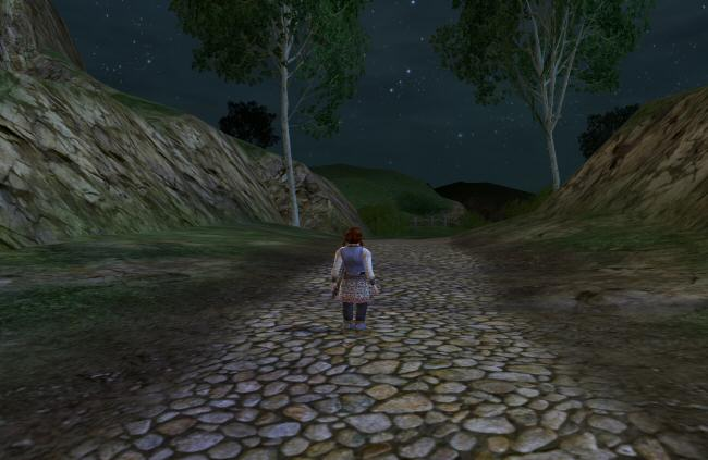 The road goes ever on and on. Except not here. This is a tutorial zone, so the roads are gated to keep you from wandering off before you've learned how to walk around and equip stuff.