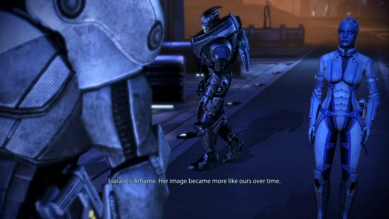 Liara spends the whole scene denying that the flagrantly Prothen statues look like Protheans, when that's something a PROTHEAN ARCHAEOLOGIST like her should have noticed on her own. But then she says this line of dialog, where she switches sides in the argument. Then she goes back to denying.
