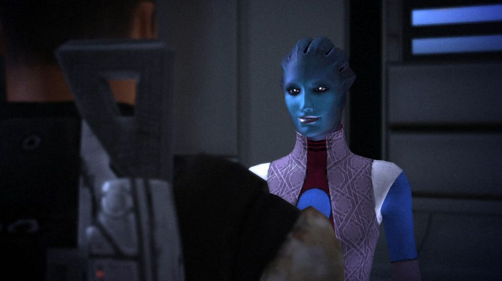 In my design, I'd go for the demeanor and tone of the Consort from Mass Effect 1. (Although obviously you'd need a totally different visual design.) I think the Consort's aloof and mysterious delivery would work pretty well for a villain that thinks she's the hero.