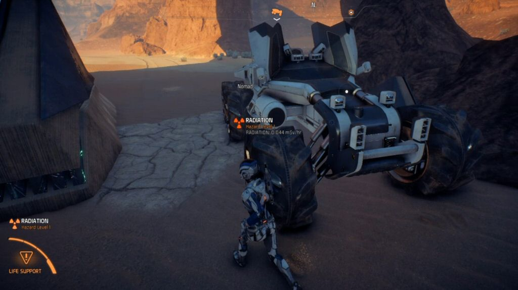 Don't get excited thinking you'll get to see some cool animations of getting in and out of this thing like you might see in other open-world games. As in Mass Effect 1, a single button press instantly teleports the entire team into the vehicle. Sad face.