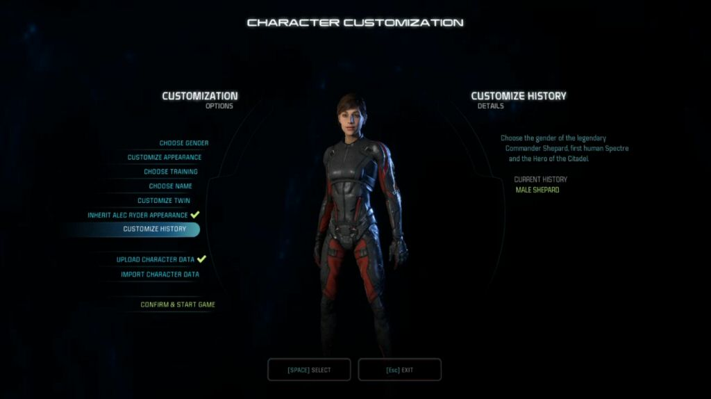 I'll be playing as the female option (Sara Ryder) this time around. I'll also be using biotic powers because I'm incapable of doing anything else.