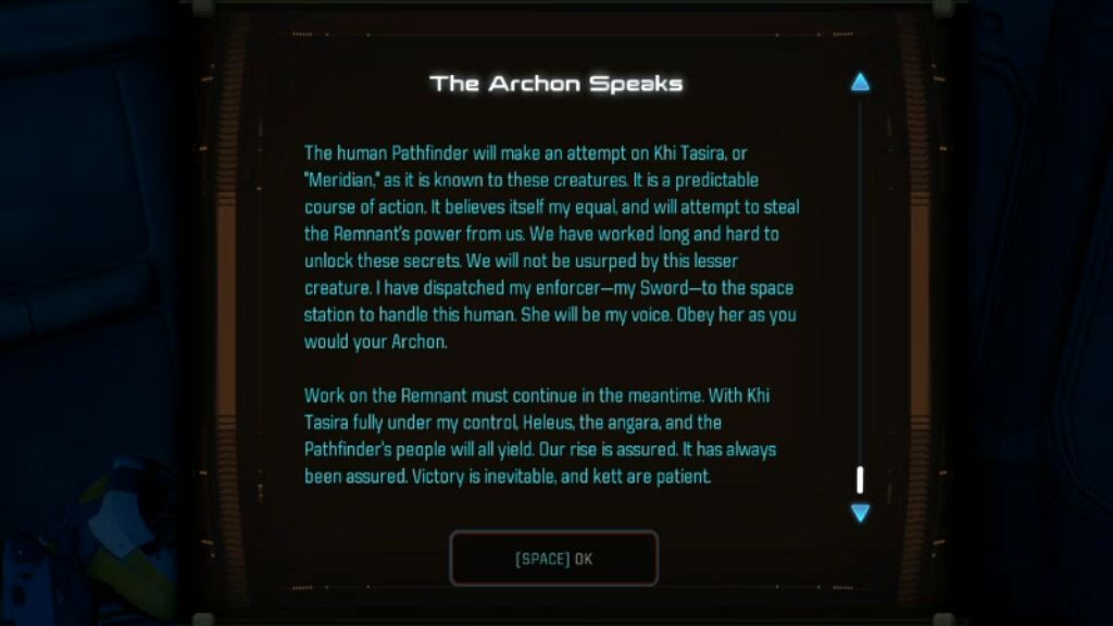 In this datapad diary to his troops, the Archon claims that humans call this place Meridian. But we call it meridian because the Moshae says the ARCHON called it Meridian. Not only does this alien macguffin have an English name, but the origin of the name makes no sense.