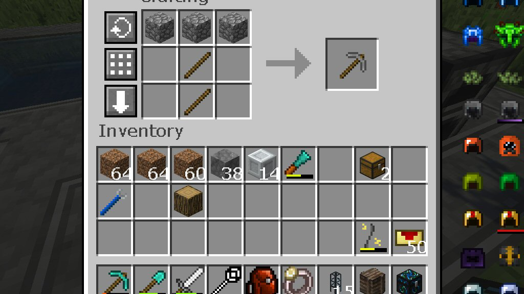 Here is the recipe for the humble pickaxe. Three cobblestone across the top, with two sticks underneath it.
