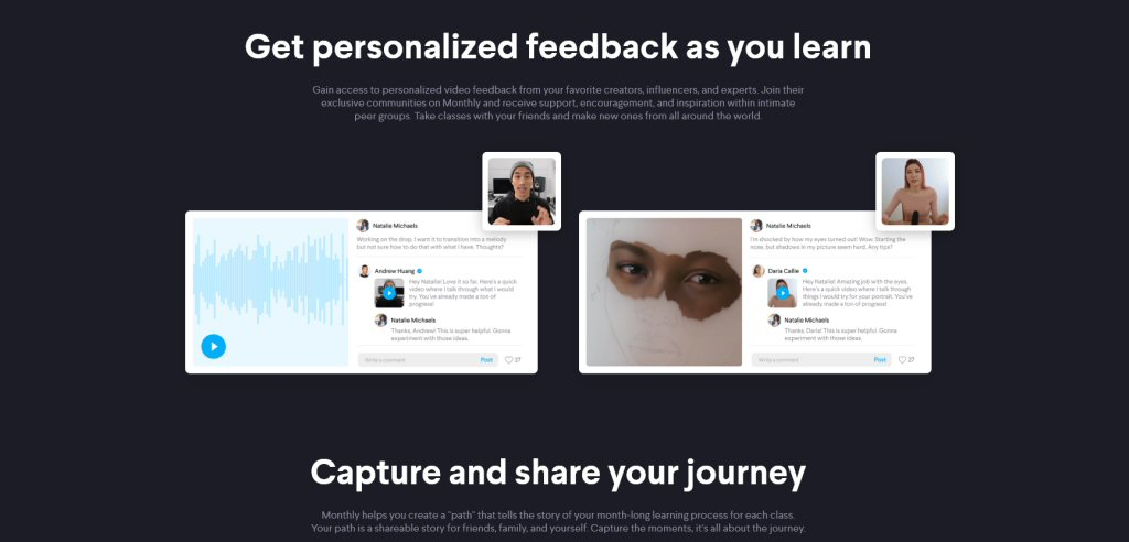 This ad makes it look like a celebrity is going to send you a personal video message. I never got any instructor feedback on anything I posted. Huang left short comments on a LOT of tracks, but I suspect that the large class size makes real personalized interaction impractical.