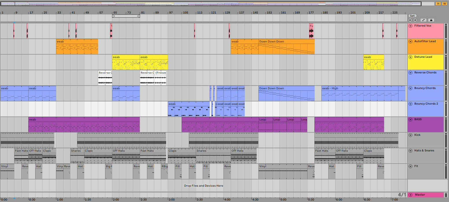 Everyone has their own color-coding system for organizing tracks. Personally I make bass parts purple and then go through the rainbow, making higher parts closer to the red end of the color spectrum. (Drums are grey / white.) I'm curious what color schemes other people use. Also, you can hear this track at the end of this post.