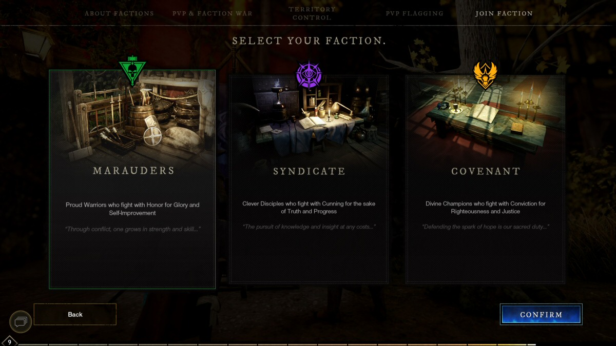 The three factions. Every player has to pick a side, and then spend the rest of the game trying to benefit your side at the expense of the other two. Sigh. Welcome to the MMO version of, 'Everything Wrong with Humanity' Ugh.