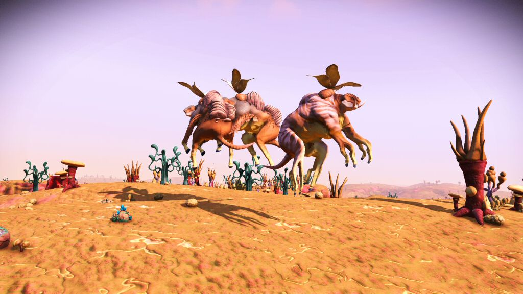 If the atmosphere is so thick (or the gravity so weak) that these butterfly-cows can hover on such tiny wings, then I imagine they could just as easily fly without the wings.