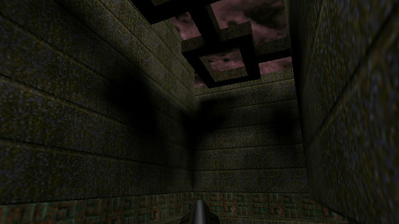 The big blobby shadows in that corner are probably a couple of black pixels stretched over a couple of meters worth of wall. This image was taken using the much newer GL Quake. Modern graphics cards work pretty hard to smooth these edges out as much as possible. I remember the effect being a lot more obvious and ugly back in the day.