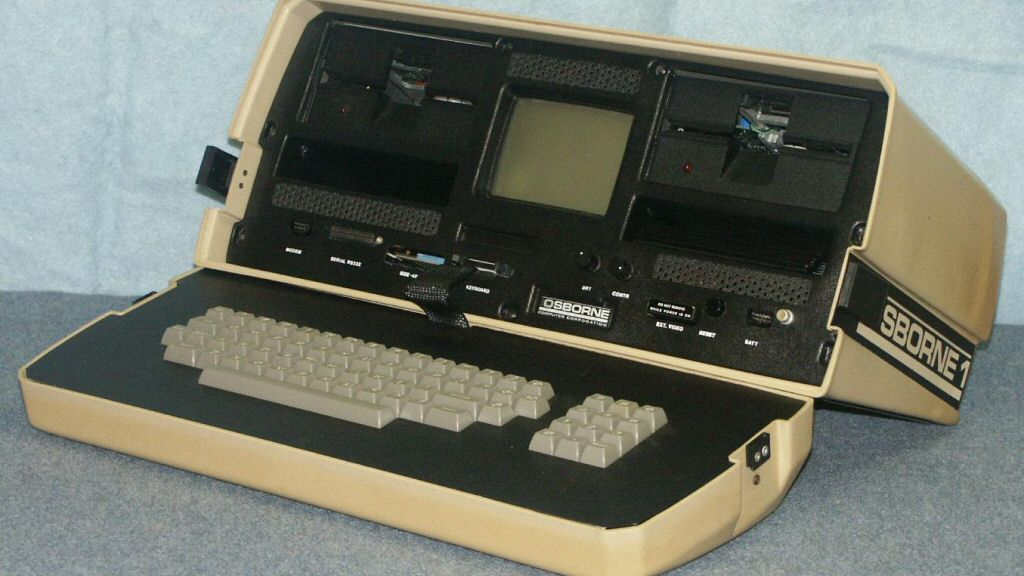 This is the <a href=`https://en.wikipedia.org/wiki/Osborne_Computer_Corporation`>Osborne 1</a>, a cutting-edge computer of the time period. Its 64kb of RAM means it can only store 0.001% of the data from a DVD. Heck, it wouldn`t even be able to fit this picture of itself (90kb) into memory. Oh, and the Osborne 1 didn`t actually come out until 1981, so it`s still a bit beyond the reach of consumer hardware in 1977.