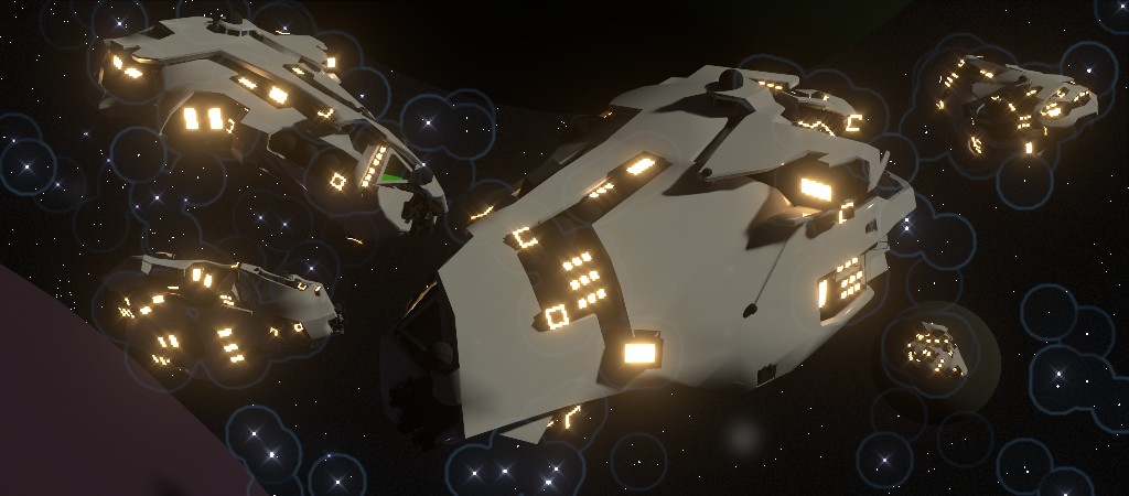 Here's a spaceship I prepared earlier. Also on display, lack of symmetry.