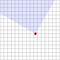 Overhead view. The world is divided up on this grid.  The red dot is the camera, and the blue is the cone that will be visible to the viewer.