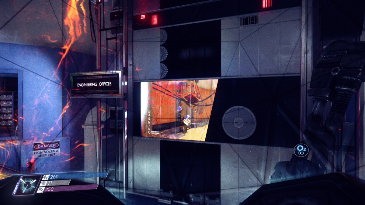 Here are some lovely neuromods. And right behind them is the door to Mikhaila's office. So once you're done with your self-serving spacewalk for more loot, it's barely any additional effort to save Mikhaila's life. If this scenario is supposed to be probing for altruism, then the designer's methodology sucks.