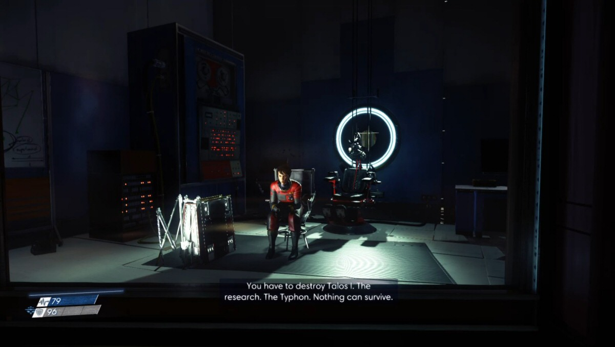 This is the closest we get to cutscenes during the course of the game. A video plays on a screen without stealing the camera from you, and you're free to walk away whenever you like.