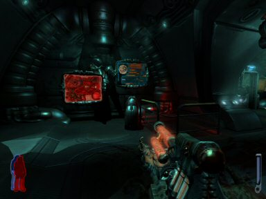 "<del datetime=""2007-06-01T01:37:38+00:00"">Although Prey uses a different engine</del>, it still looks a LOT like Doom 3.  It has a similar bio-industrial style and the metal surfaces give off the same low-polish shine.  The advantage here is that the game is much more brightly lit, so you rarely have that feeling of bumbling about in the dark that was all too common in Doom."