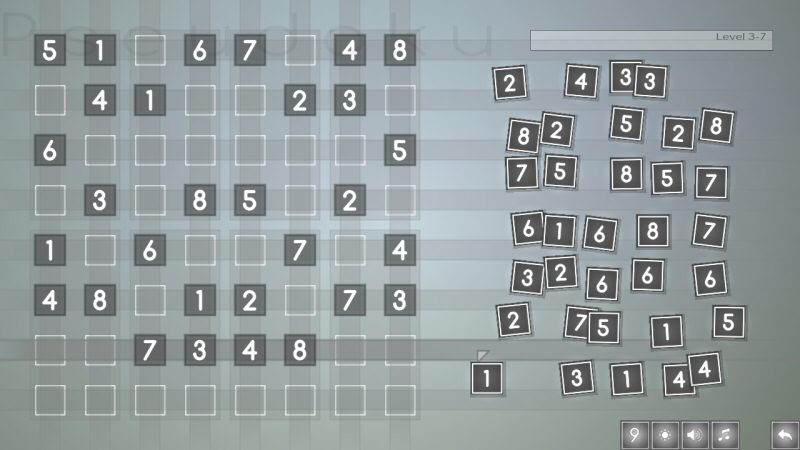 One of the mid-tier sudoku-style puzzles, which is played with 8 tiles instead of 9.