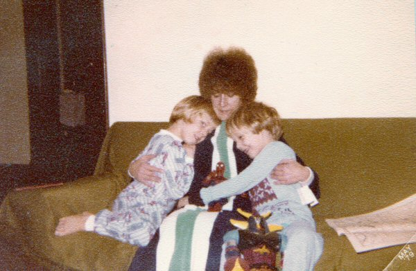My family: Patrick, Mom, THE AMAZING SPIDER-MAN, and me. We still talk about her haircut to this day.  Oh, seventies, you dismal crime against aesthetics.