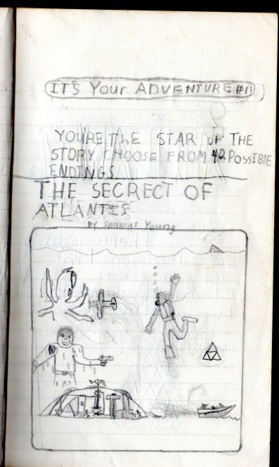 """My book has an artifact that looks like four interlocking triangles. You can't accuse me of copying the Tri-Force from Legend of Zelda, since my book pre-dates the first Zelda game by three years.  I had to keep explaining that the cover image was meant to be a montage (a task made harder by the fact that I didn't know the word """"montage"""" yet) and not a single literal image. My writing has improved over the years, but my drawing has remained largely unchanged."""