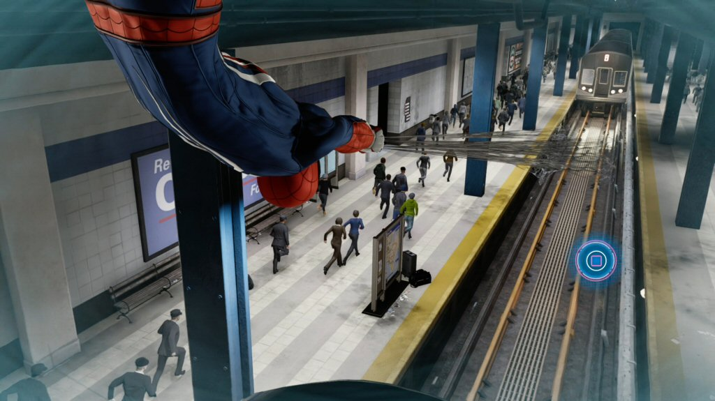 The train in front of us is stopped. Spider-Man is making a web-ramp for the train directly underneath him. Somehow.