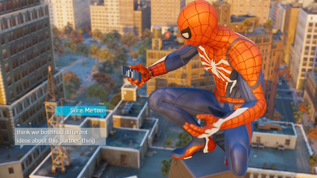 I am really impressed with Peter's ability to type while leaping around the city.
