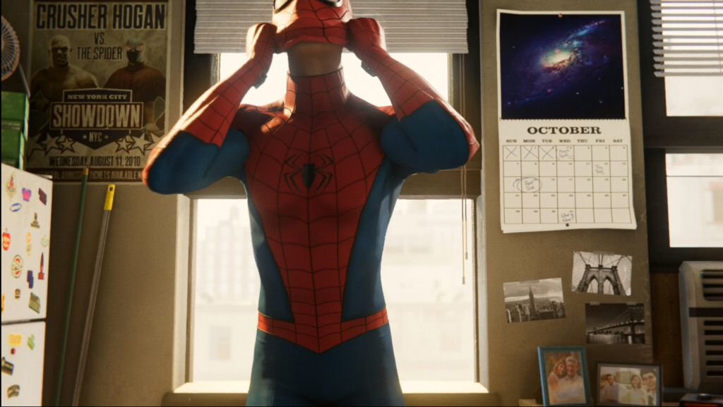 The background of this scene is packed with so many cool details. Broom and mop to remind us of the mundane side of his life. A poster of his public match against a wrestler. Samples of his photography. Picture of Uncle Ben and Aunt May. Picture of Peter, MJ, and Harry Osborn. I'll bet half of those refrigerator magnets are I LOVE NEW YORK style tourist junk. Everything is placed with thought and fills in the scene while also doing some worldbuilding and characterization.