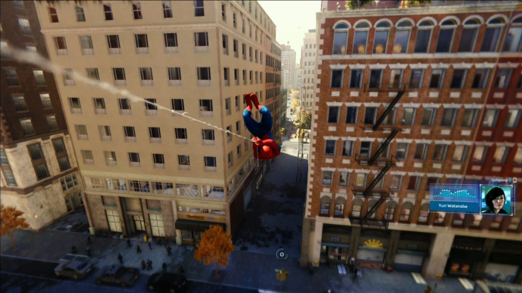 Spider-Man gets a phone call while swinging over the city. Man, I wish I could get a cell phone what would show me a picture of the other person and a waveform of their audio. Why don't we have that yet?