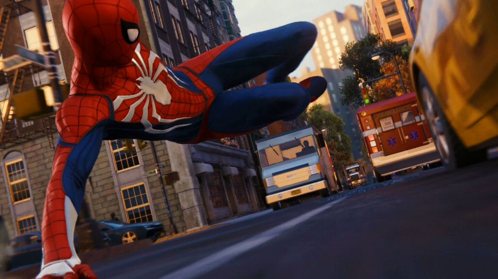 I understand Spidey has the reflexes to pull this off without going face-first into a truck, but I'm surprised the drivers don't freak out when he does it.