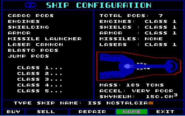 This is the stuff I lived for: The ship upgrades. Even back then, I was always disappointed there weren't more decisions to be made here. It was basically a matter of upgrading to the best systems available and deciding how much you wanted to weigh yourself down with cargo pods. Also note that this shot is actually from Starflight 2.
