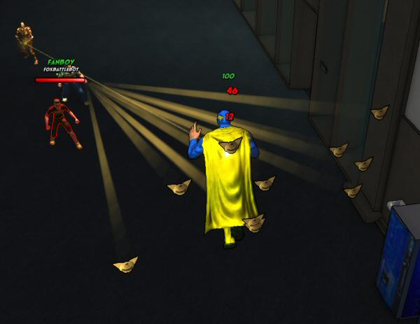 Foxbot fanboys throw these yellow triangles at you if you're overhead or at a distance. I always thought that the triangles were those folded paper footballs, but now that I've gotten a close look at them in a still shot I have to say they're very clearly I don't know what the hell.