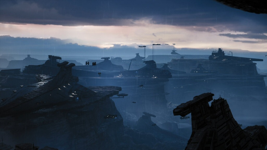 Instead of a text crawl, all the game gives us is this spectacular vista of ruined ships, the leftover wreckage of the clone wars.