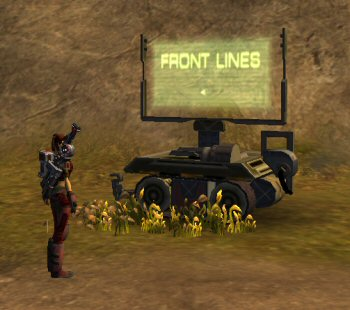 A mobile sign, clearly directing the randomly wandering soldiers towards the front lines.  Only within the context of an MMO can we pretend this makes sense.
