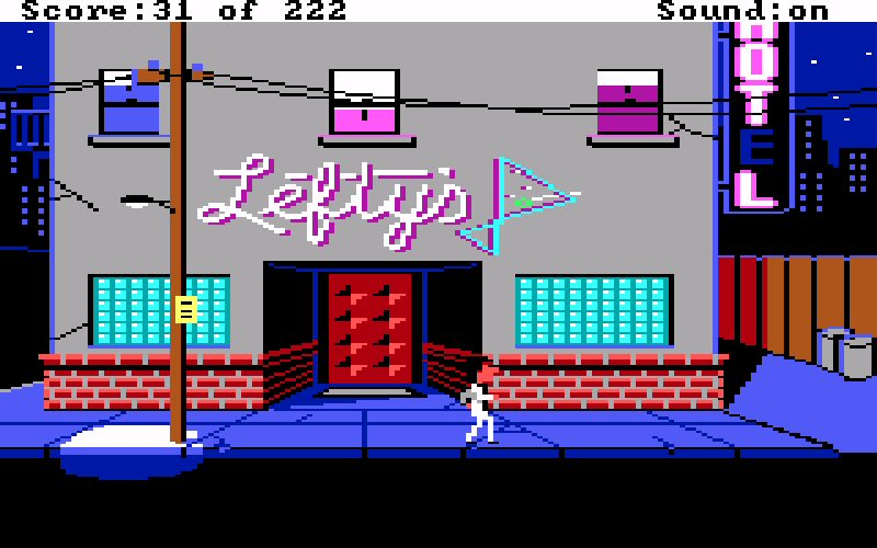 Screenshot of Lefty's Bar from the 1987 original.