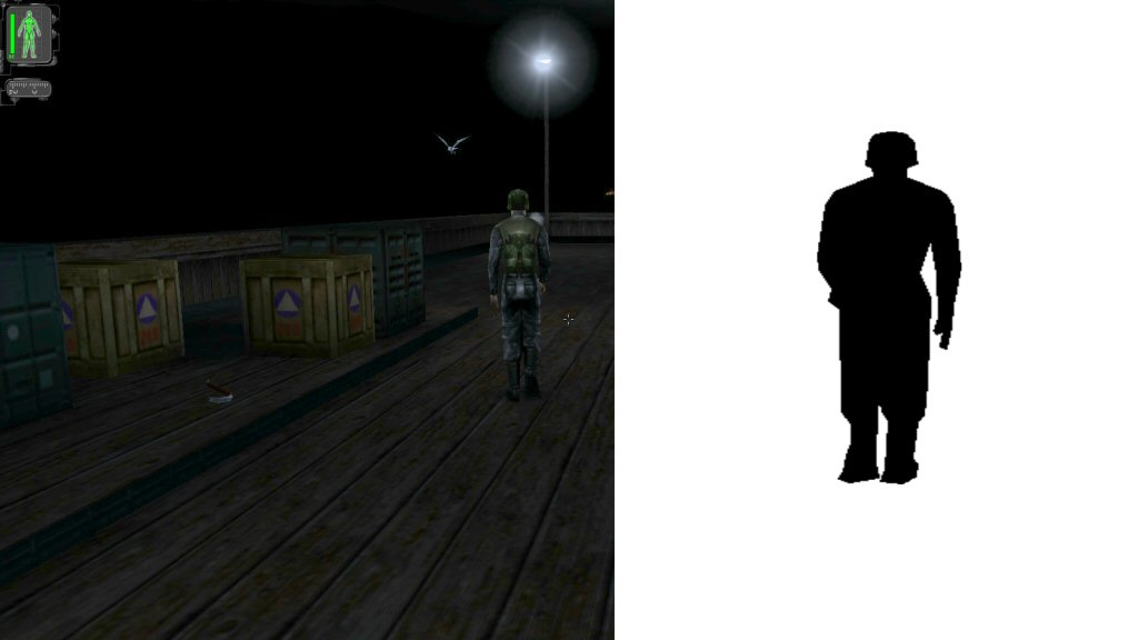 The shadow texture on the right would be taken with the camera placed AT the light source. This trick only works for directional lights like spotlights, or the sun. You probably wouldn't use it on an area light like the one in this screenshot.