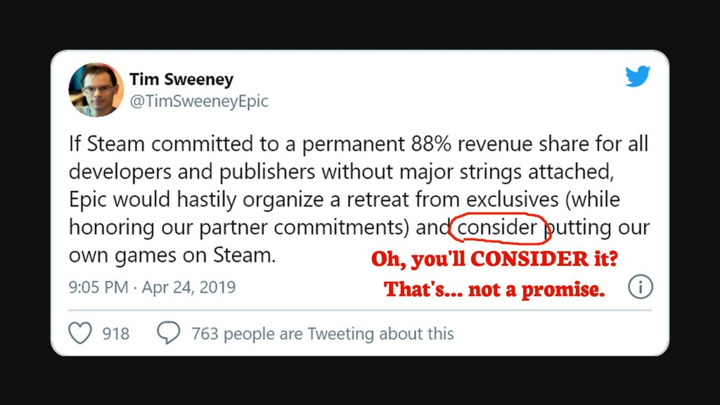 How do we beat Valve? Hm. Maybe if we annoy our potential customers enough, and promise to STOP annoying them if Valve lets us win, then the masses will somehow apply pressure to the platform they love to help the platform they hate. This is a bulletproof plan.