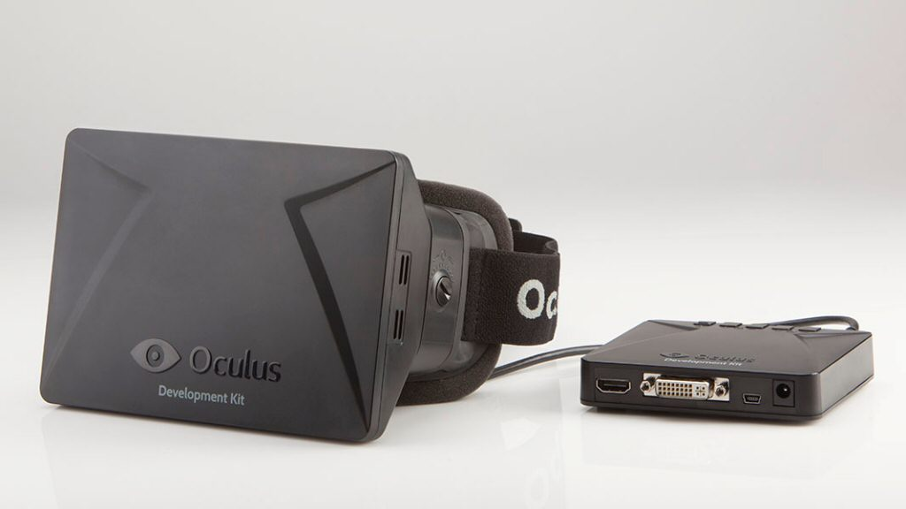The original Oculus Devkit, which lacked the motion-tracking sensors.
