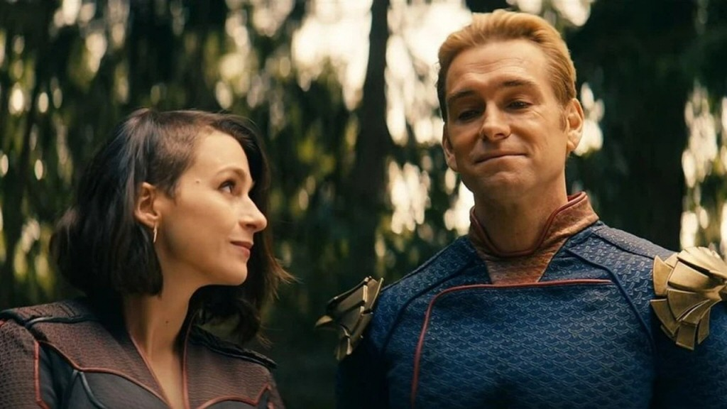 Actor Antony Starr plays Homelander. Fun fact: His American accent is so flawless that I didn't realize until now that he's actually from New Zealand.
