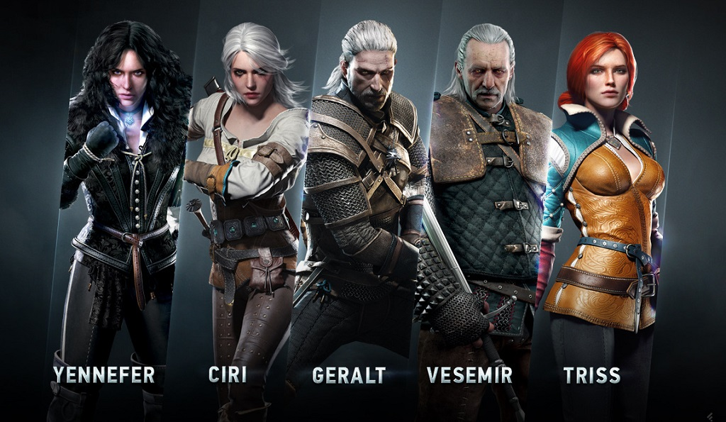 The game's main characters. From left to right: Eskel, Lambert, the Brewess, Zoltan, and Emperor Emhyr var Emreis.