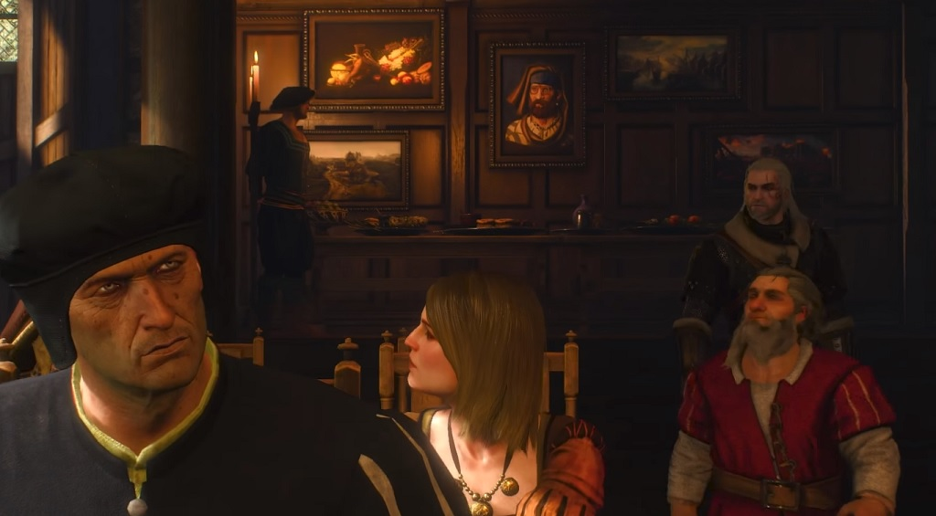 That guy in the background, by the paintings? O'Dimm. The devs snuck him, in various disguises, into the backgrounds of a half-dozen or so scenes in the questline. Bit unsettling once it's pointed out to you.