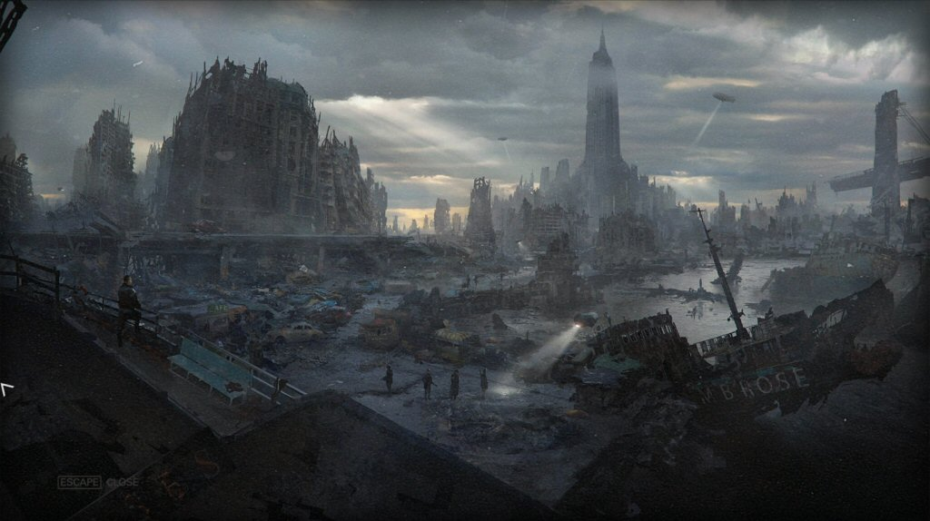 The concept art / loading screen for New York. Sadly, there's nothing like this view in the game. The environment is designed like a corridor shooter and you never get expansive views like this.