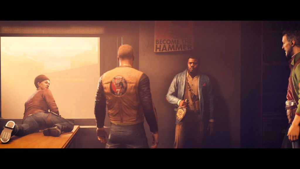 Left to right: The Professor, the legendary BJ Blazkowicz, Paris Jack, and Horton. Only one of these people will be useful to the rebellion after this cutscene. I'll let you guess which one.